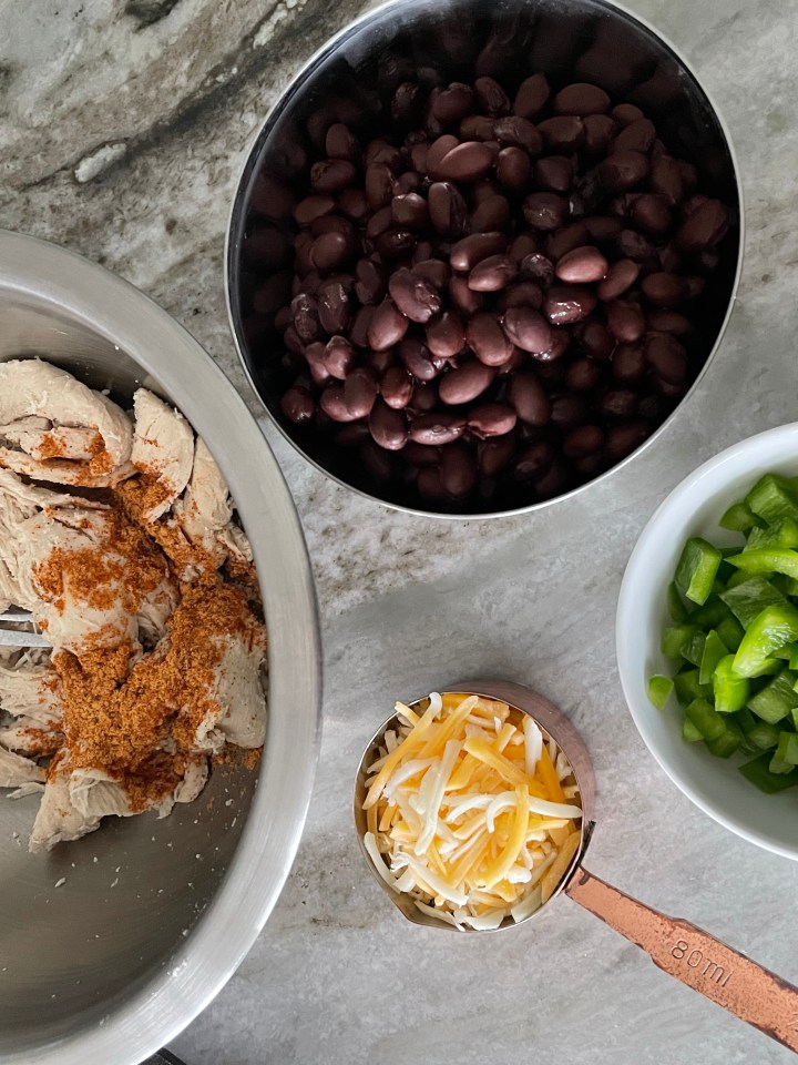 add any fillings into your loaded quesadillas, like black beans, peppers and chicken