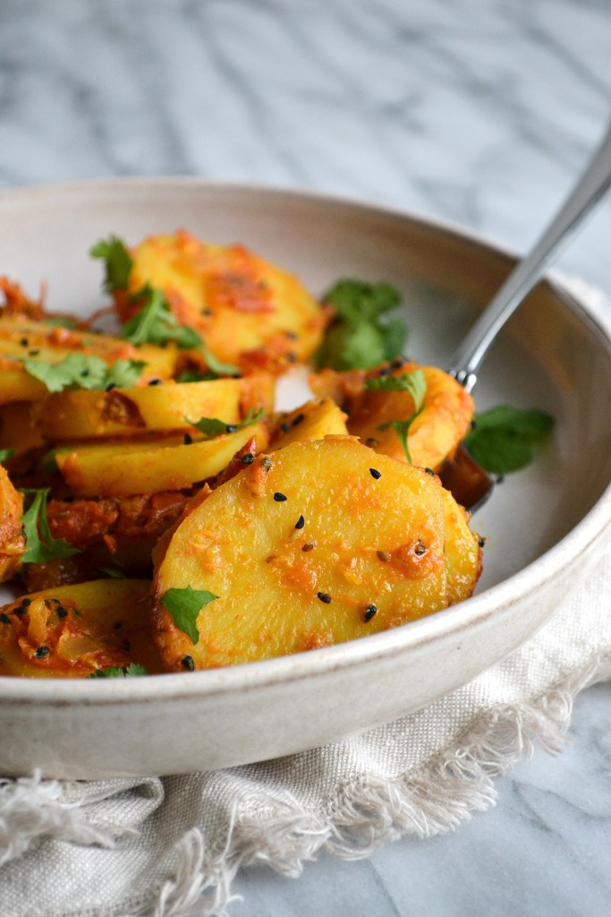 This potato curry is vegan and gluten free!
