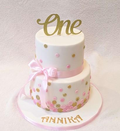 2 Tier Pink Gold Polka Dot Birthday Cake Sweet Treat Cakes Bakes