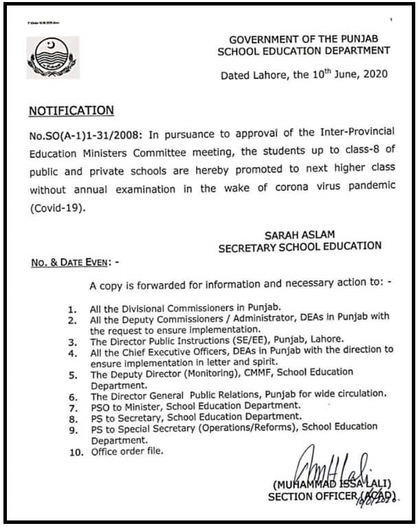 8th Class Promoted to Next Higher Class without Annual Examination