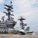 A Super Hornet lands on the carrier Eisenhower.
