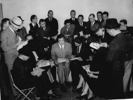 "Orson Welles meets the media in 1938 after his ""War of the Worlds"" dramatization on Oct. 30, 1938, fooled many listeners (AP file photo)"