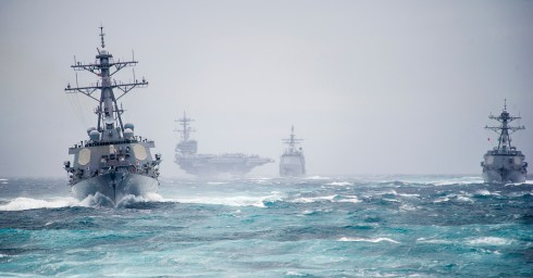 Ships from the George H.W. Bush Carrier Strike Group simulate a strait transit. (Photo by MC2 Justin Wolpert)