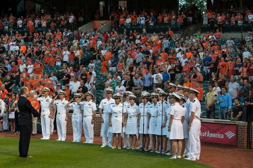 U.S. Naval Academy's Glee Club sings the national anthem on Aug. 25 at Oriole Stadium at Camden Yards in Baltimore.  (MC2 Tyler Caswell / Navy)