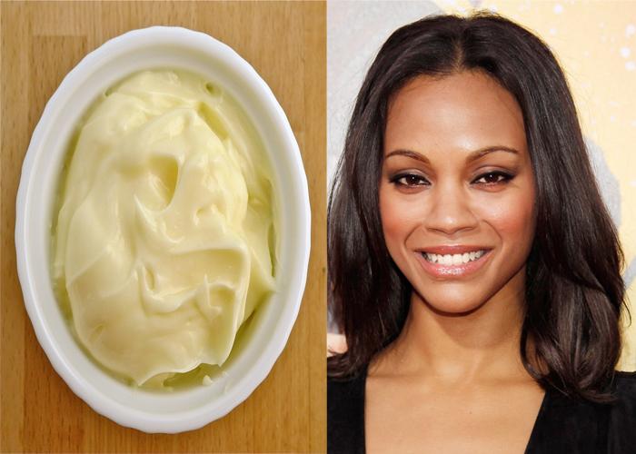 Zoe Saldana Uses Mayonnaise