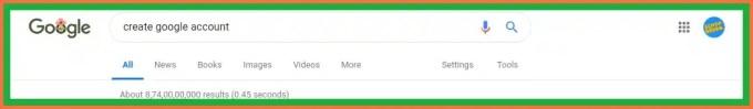 """""""Create Google Account"""" को Search करें"""