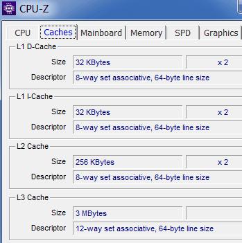 processor cache size