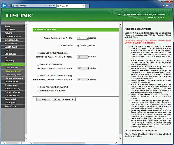 tp-link ac1750 firewall