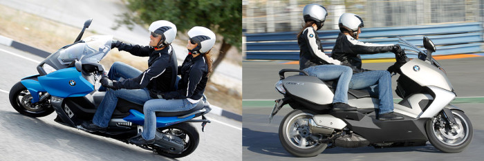 Two different passenger experiences: BMW's C600 Sport (left) and C650 GT (right)