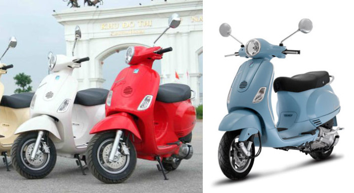 The Diamond Blue (left) was one of the rare Vespa clones almost identical to its Vespa counterpart (the LX, right).