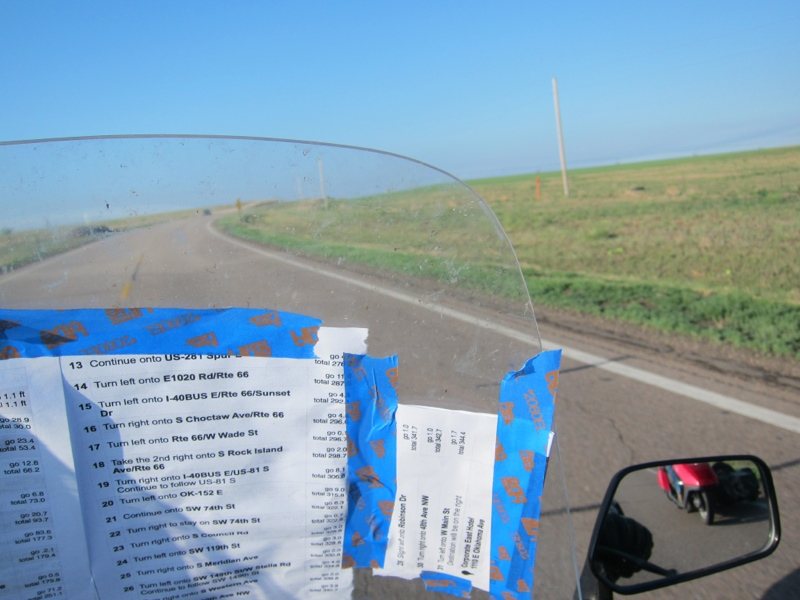 The Day 8 route, taped to my windshield