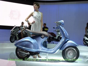 The Vespa 46 prototype at the Milan Motorcycle Show, 2011.