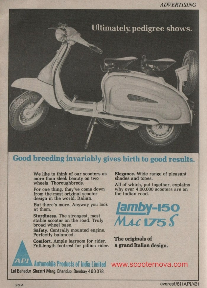 API Lambretta advert from 1981
