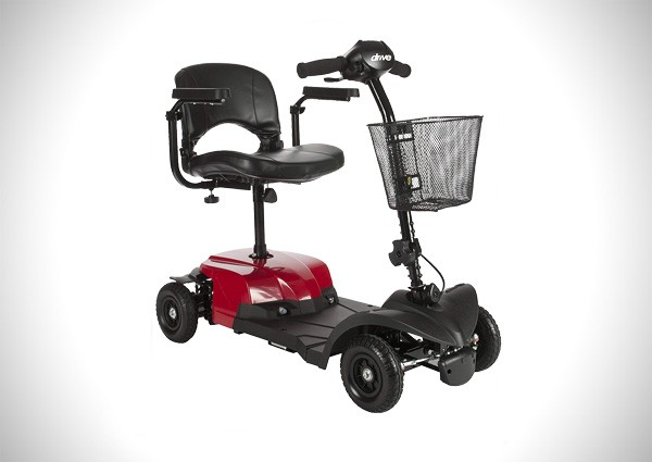 Drive Medical Red Bobcat X4 4 Wheel Compact Transportable Scooter