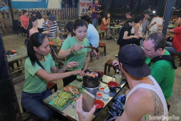 Eating Bbq In Vietnam
