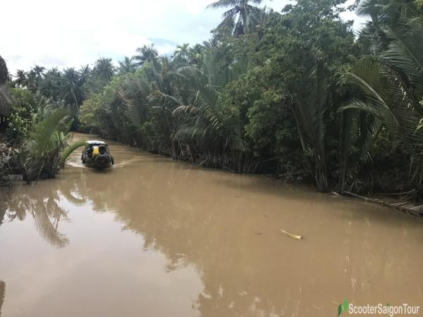 Motorized Boat On Mekong Delta River 2