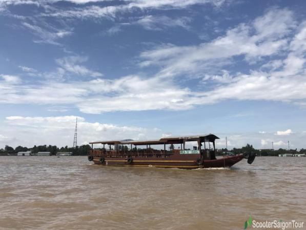 Motorized Boat On Mekong Delta River