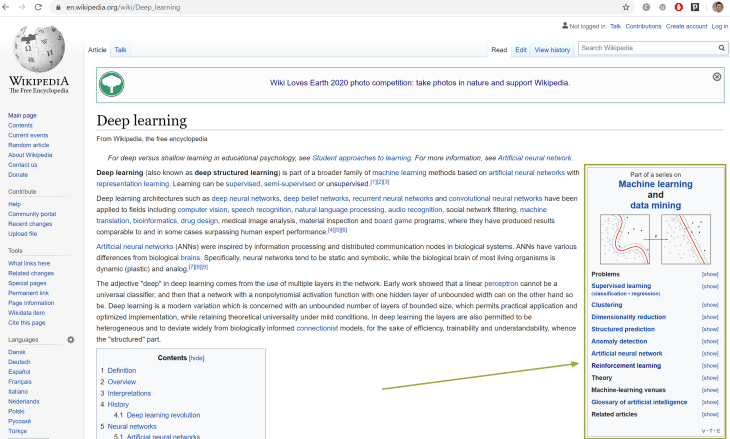 """Wikipedia page on """"deep learning"""", upper part."""
