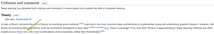 """""""Criticism and comment"""" section of the """"deep learning"""" Wikipedia page."""