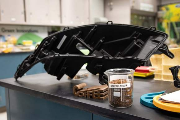 A car part made from coffee chaff, in a collaboration of Ford and McDonald's. Image from digitaltrends.com.
