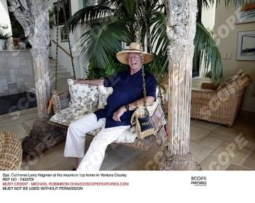 Larry Hagman at his mountain top home in Ventura