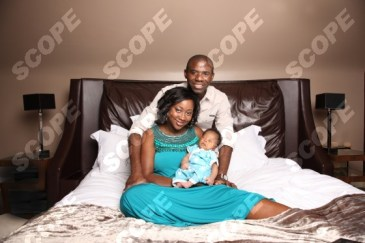 Miracle footballer Fabrice Muamba and wife Shauna introduce their newborn son at home in Cheshire.