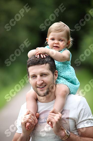 Boxing Champion Carl Froch with one year old daughter Natalia
