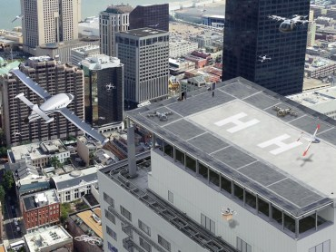Urban air mobility means a safe and efficient system for vehicles, piloted or not, to move passengers and cargo within a city. Credits: NASA