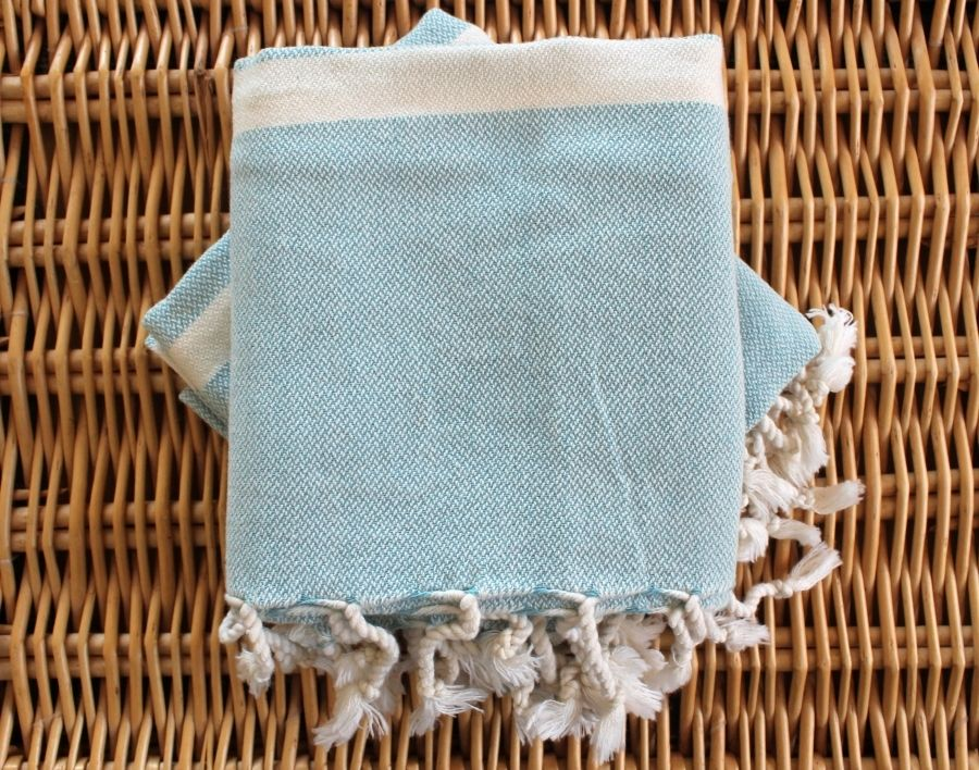Hand and bath artisan towel set, light blue, made in Turkey