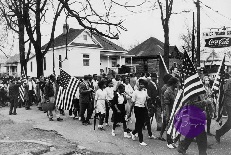 Civil rights activists marching from Selma to Montgomery, Alabama, in March 1965.