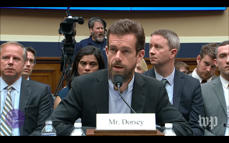 Jack Dorsey appearing in front of Congress