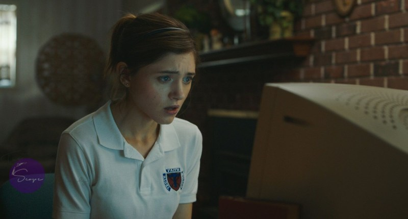 "Natalia Dyer ""YES, GOD, YES""in front of computer"