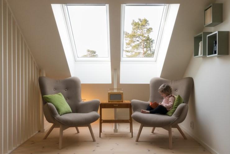 Modern, retro design in a small living room.