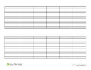 5-Staves per System (w/ Barlines) - Landscape