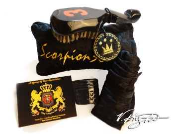 King Scorpion 360 Medium Hard Black & Burnt Orange Wave Brush Bundle. Black Goose Down Velvet Pouch Plus Medium Hard Custom 360 Wave Brush, Velvet Du-Rag, 4 oz Wave Butter
