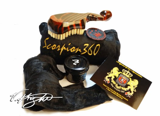 Scorpion | 360 Hard Champagne Red Deluxe Wave Brush Bundle