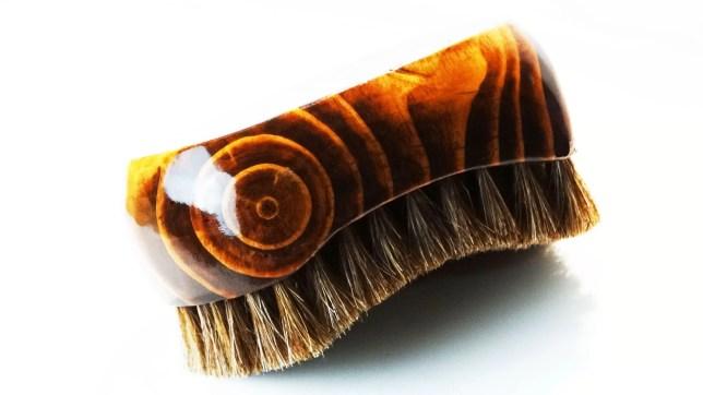 Oval Palm Dark Mahogany Horse Hair Brush