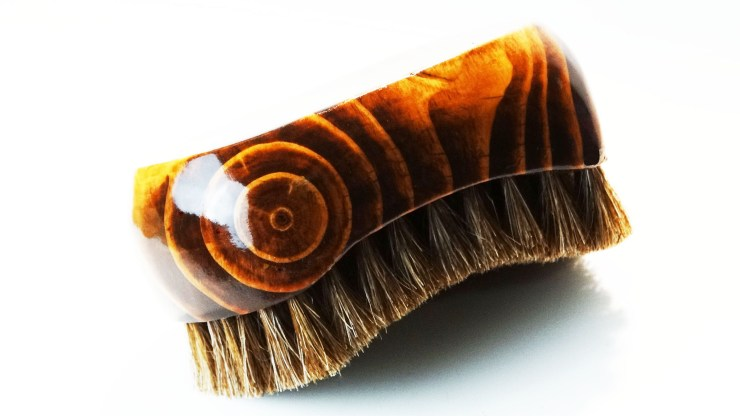 Oval Palm Dark Mahogany Horse Hair Brush