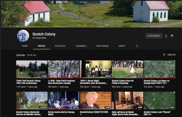 Screenshot of our Scotch Colony YouTube channel