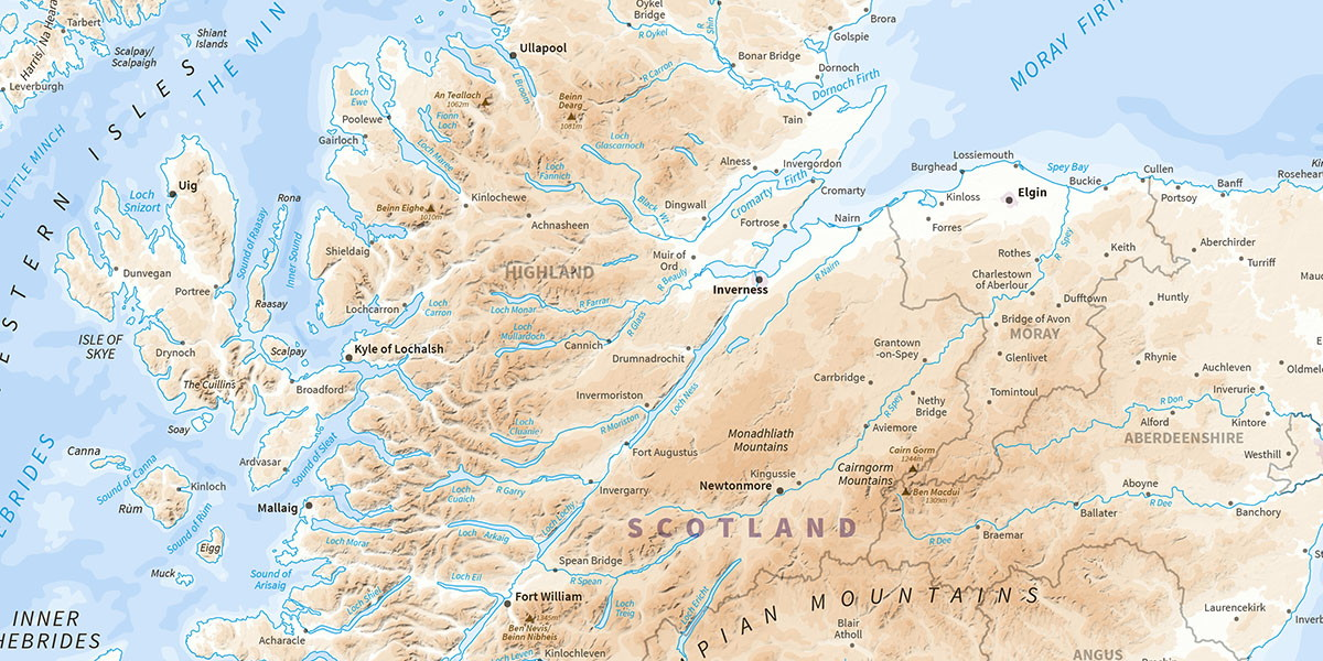 Map extract of Scottish Highlands