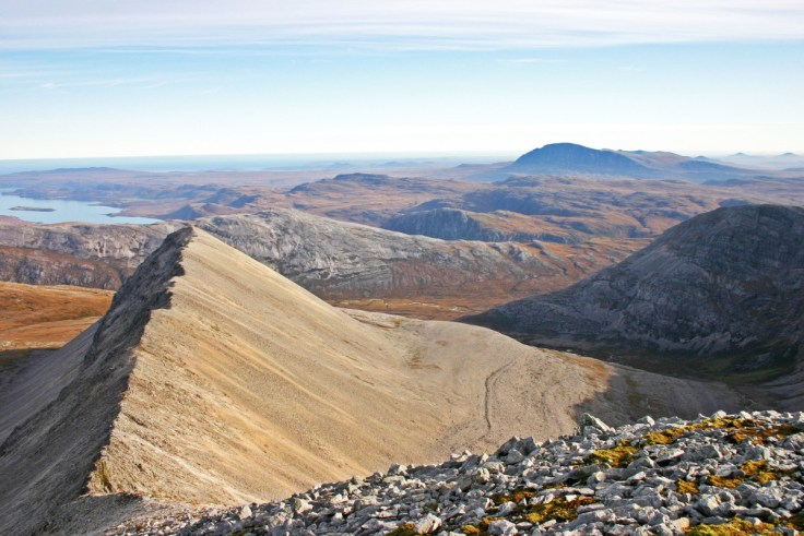Photo of the view east from Foinaven over the stunning A'Cheir Ghorm (A' Ch'eir Ghorm) ridge