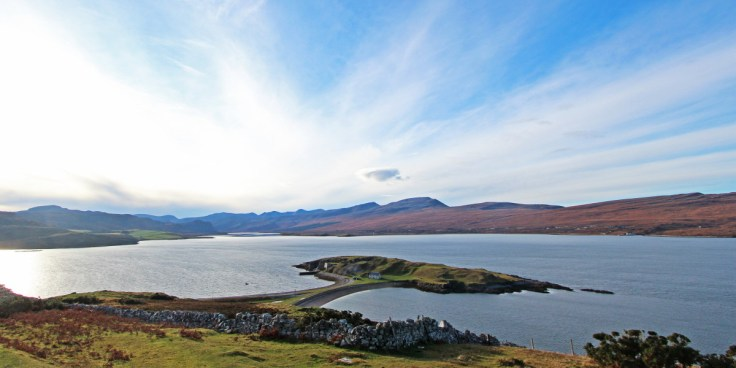 Photo of Loch Eriboll with the peninsula of Ard Neakie and Foinaven, Cranstackie and Beinn Spionnaidh beyond