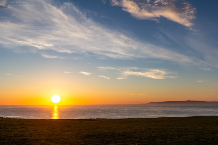Photo of late May sunset over the Pentland Firth.