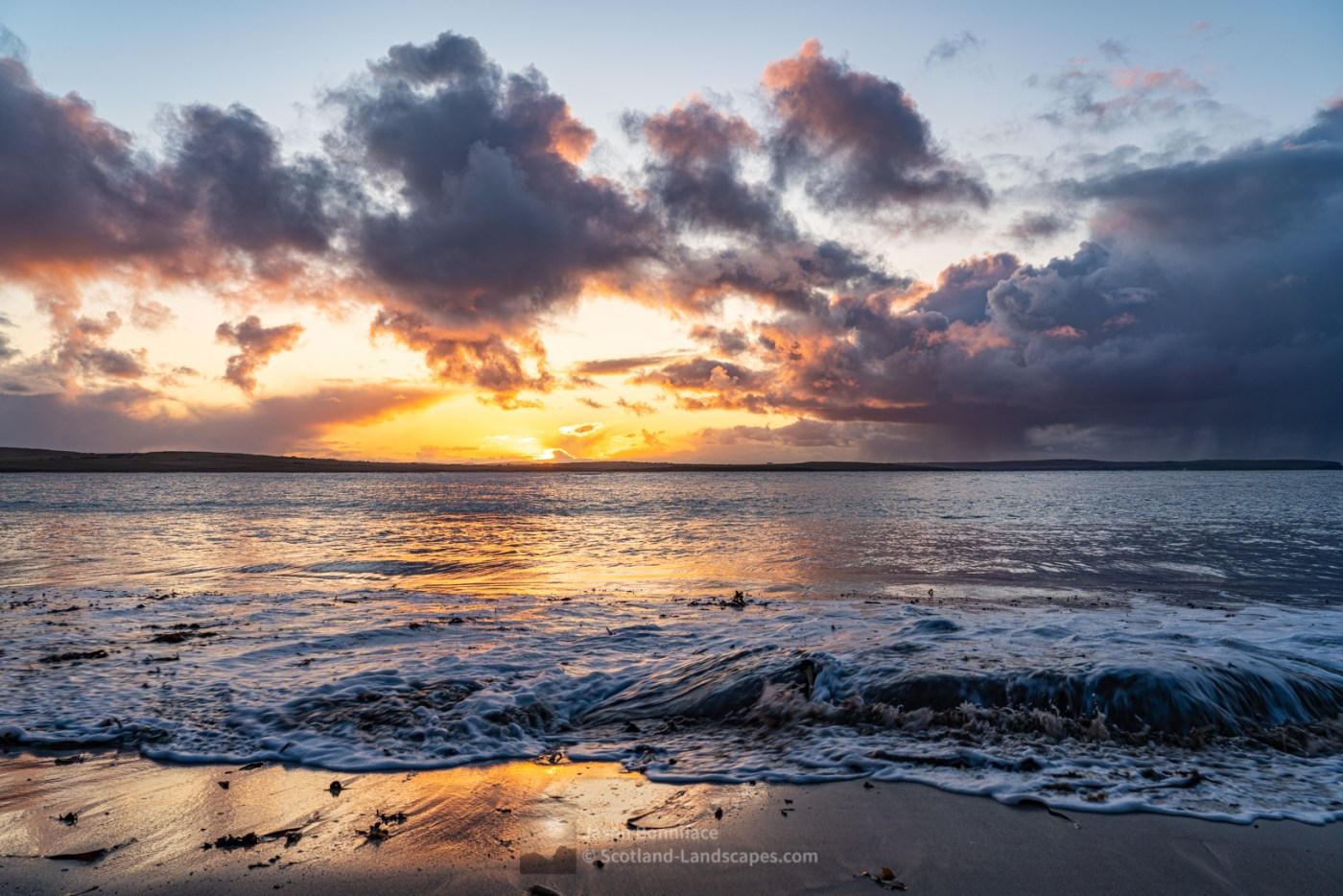 Sunset from Peedie Beach; a lovely small beach on the west side of Dunnet Head. It's a short but steep walk from the car park at Dwarwick Pier at the west end of the village of Dunnet