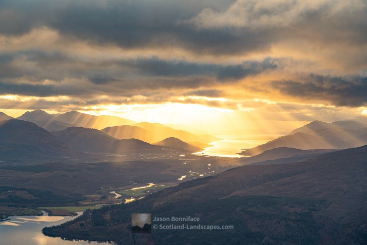 Crepuscular Rays over Fort William and Loch Linnhe from Meall Coire Lochain (Colour), Lochaber