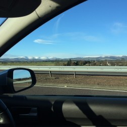 Snow capped hills? mountains?