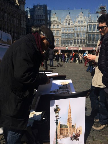A beautifully talented artist in the square.