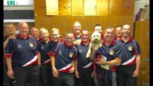 ELBA Division 1 Winners - Haddington BC (with mascot Missy the Dog)