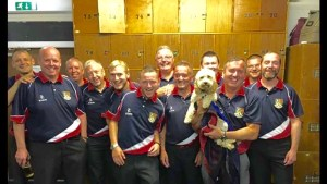 ELBA Division 1 Winners - Haddington BC (with mascot Missy the Dog)