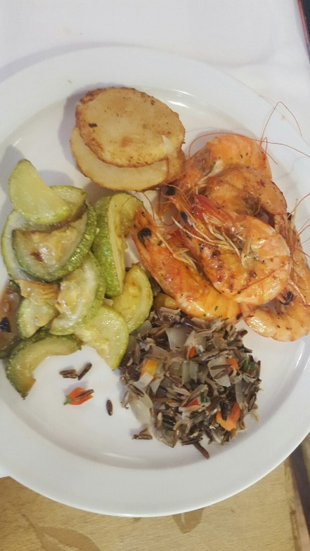 My first helping of King Prawns, wild rice and courgette